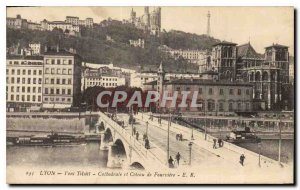 Old Postcard Lyon Pont Tilsitt Cathedral and Coteau de Fourviere
