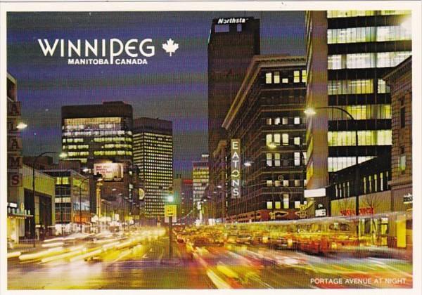 Canada Winnipeg Portage Avenue At Night