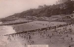 FOLKESTONE, England, 1900-10s; The Beach full of bathers
