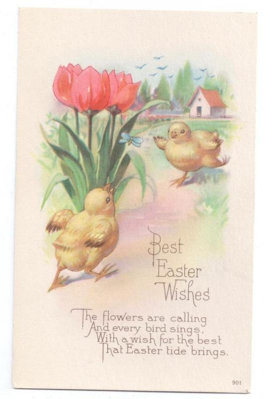 Easter Chicks Tulips Butterfly Vintage Karle Poem Postcard