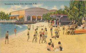 SAN JUAN, Puerto Rico    ESCAMBRON BEACH CLUB  1950  Linen Postcard