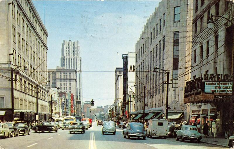 Akron Ohio~Main Street Looking North~Mayflower Theatre~VW Beetle~Richman's~1963
