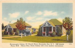 Alexandria Bay New York~Kavanaugh's Cabins @ 151 Church Street~1948 Postcard