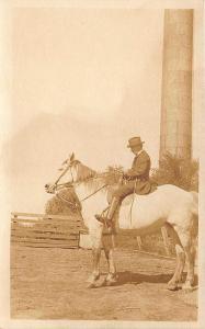 Wilber NE Man Horseback Riding Standpipe Real Photo Postcard