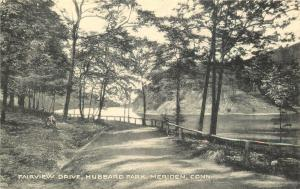 Meriden Connecticut~Hubbard Park~Fairview Drive~Rail Fence~1940s Colotype PC