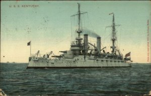 US Navy Battleship USS Kentucky c1915 Used Postcard