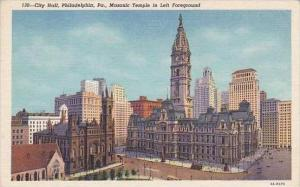 Pennsylvania Philadelphia City hall Masonic Temple In Foreground