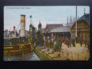 Shipping Liverpool ST. GEORGE'S LANDING STAGE - Old Postcard by Willan Series