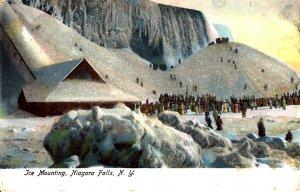 Niagara Falls, New York - Group of people - Ice Mounting - Glittered - c1905