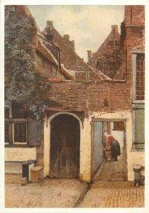 Painting artist Postcard Jan Vermeer van Delft street