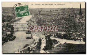 Old Postcard Rouen General view Taking Cote Ste Catherine