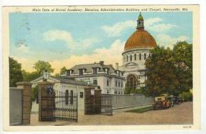 Main Gate of Naval Academy, Showing Administration Building and Chapel, Annap...