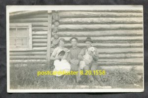1558- Canada Family Log House Dog Cat Real Photo Postcard prob. Northern Ontario