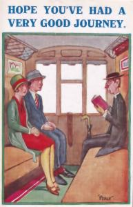 Train Carriage Comic Railway Priest Humour Old POstcard