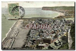 Old Postcard The Treport Beach and the City of bird flight