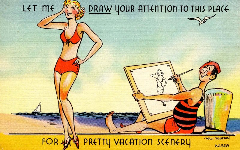 Humor - Let me draw your attention to this place…  Artist, pretty girl
