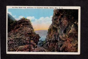 NH Great Cut Railroad Train Locomotive Crawford Notch New Hampshire Postcard