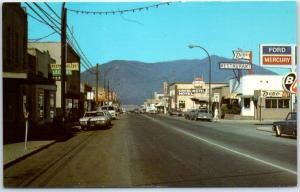 Creston, BC Canada Postcard CANYON STREET Downtown Scene Ford Sign c1960s Unused
