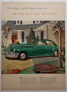 Green Packard Deluxe Clipper 1946 LIFE Magazine Color Ad Fall Leaves