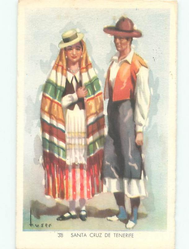 foreign Old Postcard signed SPANISH PEOPLE IN TYPICAL CLOTHING FOR SPAIN AC3421