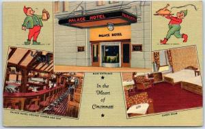 Cincinnati, Ohio Postcard PALACE HOTEL Street View w/ Bar Interior Linen c1940s
