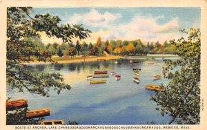 Boats at Anchor Webster, Massachusetts Postcard