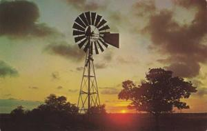 Windmill at Sunset on a Texas Ranch