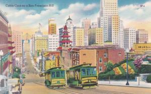 California San Francisco Cable Cars On A San Francisco Hill