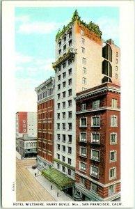 San Francisco, California Postcard HOTEL WILTSHIRE Building / Street View 1930s
