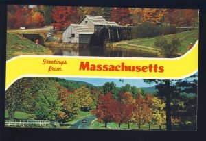 Massachusetts/MA Postcard, Country Road In Autumn, Old Grist Mill
