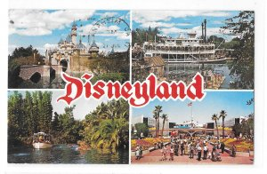 Disneyland CA Multiview Postcard Magic Kingdom 4 Views Posted 1970