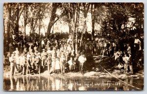 RPPC Anxious Crowd Gathers On Hill To Watch the Big Tug of War~c1910 Postcard