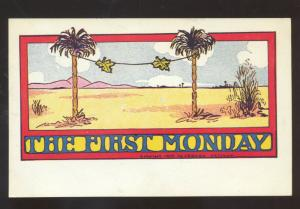 THE FIRST MONDAY 1907 J.R HOWE VINTAGE COMIC POSTCARD