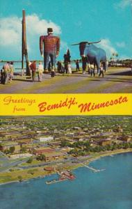 Minnesota Greetings From Bemidji Showing Paul Bunyan & Babe and Aerial View