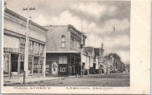 Lebanon, Oregon Postcard MAIN STREET Downtown Scene Albertype c1910s Unused