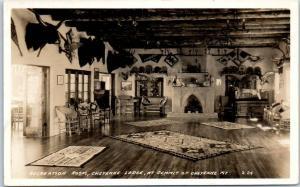 Colorado Springs CO RPPC Real Photo Postcard Recreation Room, CHEYENNE LODGE