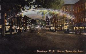 New Hampshire Manchester Eleetrie Arches Elm Street 1910