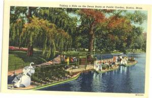 Swan Boats at Public Garden Boston, Massachusetts, Linen
