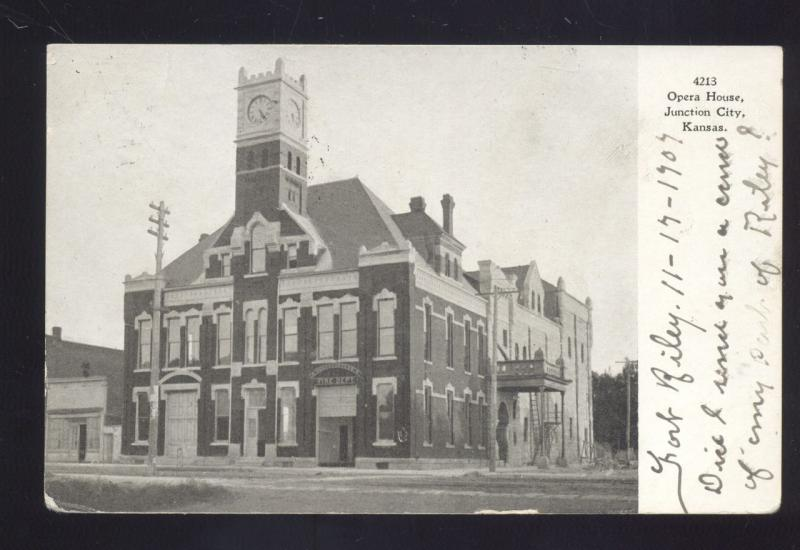 JUNCTION CITY KANSAS OPERA HOUSE THEATRE ANTIQUE VINTAGE POSTCARD NORWAY