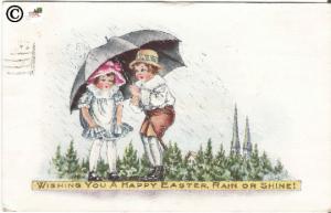 Vintage Postcard Children under Umbrella Little Girl /Little Boy Happy Easter