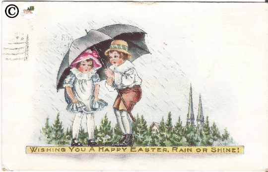 "Vintage Postcard Children under Umbrella Little Girl /Little Boy ""Happy Easter"""