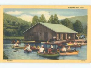 Linen MANY CANOE BOATS BY BOATHOUSE Salamanca & Limestone & Red House NY c8758