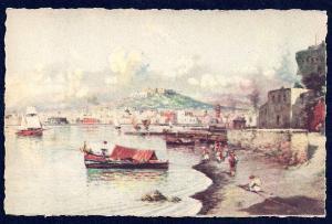 Panorama of the Sea Naples by Carelli unused c1940's