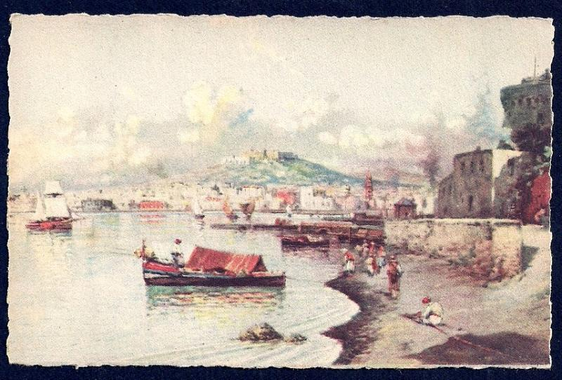 Panorama of the Sea Naples by Carelli unused c1940's