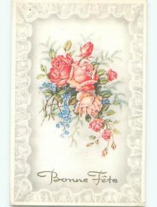 Very Old Foreign Postcard BEAUTIFUL FLOWERS SCENE AA4861