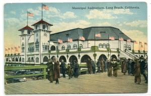 Municipal Auditorium People Pier Long Beach Los Angeles California 1920 postcard