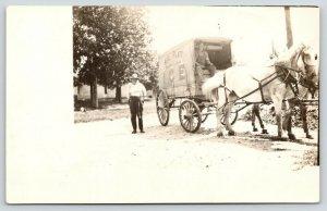 Baraboo Wisconsin~August Platt Ice Co Delivery Wagon~Horse Team~c1913 RPPC