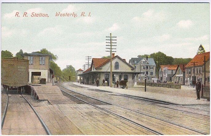 Westerly RI Railroad Station Train Depot Side Buildings Postcard