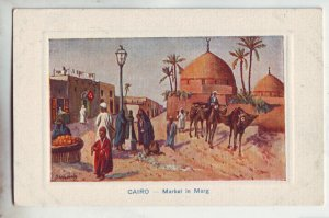 P1196 old postcard unused art cairo egypt-market in marg, cames people etc view