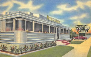 St Petersburg FL Pelican Diner Restaurant Curt Teich Linen Postcard